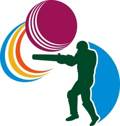 Cricket player batsman batting ball vector