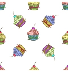 Cupcake colorful pattern vector image vector image