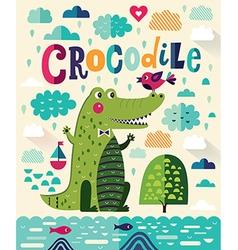 Cute crocodile vector image vector image