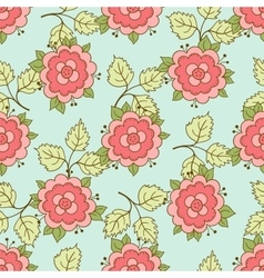 Doodle rose seamless pattern vector