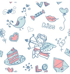 Doodle Valentines day lovely seamless texture vector image vector image