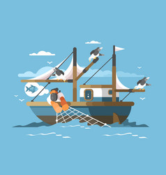 fisherman pulls fishing net vector image vector image