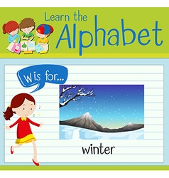 Flashcard alphabet W is for winter vector image vector image