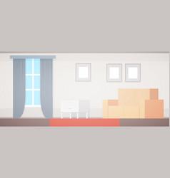 Flat home apartment design living room interior vector