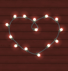 Garland heart shaped on wooden background for vector image