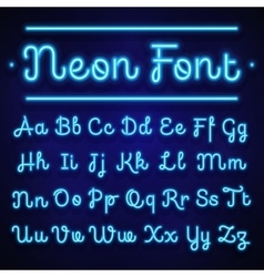 Glowing neon calligraphic letters on dark vector image