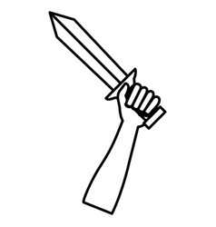 hand whit warrior sword vector image vector image