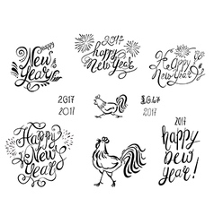 Happy New Year Text with Symbol of 2017 vector image
