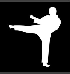 Karate man it is the white color icon vector