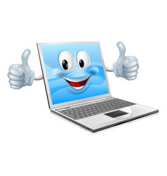 Laptop mascot man vector