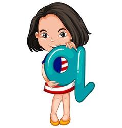 Little girl holding letter Q vector image