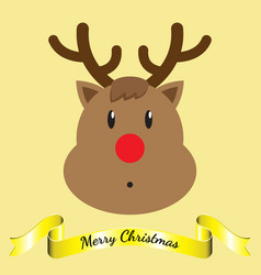 Merry christmas - reindeer and ribbon vector