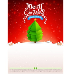 Merry christmas text tree with snow bakcground vector
