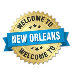 New orleans 3d gold badge with blue ribbon vector