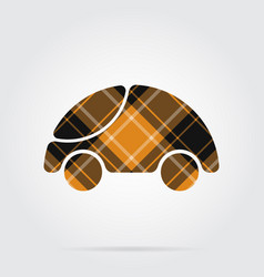 orange black tartan icon - cute rounded car vector image