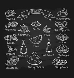 pizza ingredients set on chalkboard vector image
