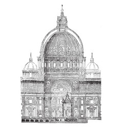 Section of the dome of st peters rome vintage vector
