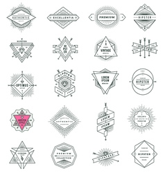 set of hipster line signs and emblems vector image vector image