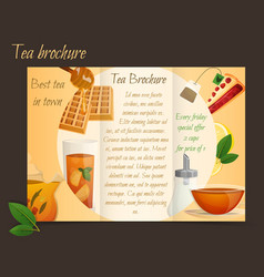 Tea brochure tri-fold vector