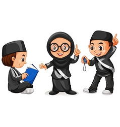 Three muslim kids in black costume vector image vector image