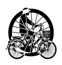 Wheel of ride bicycle silhouette vector