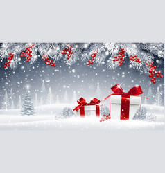 Winter background with gifts vector