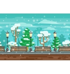 Winter garden landscape poster vector