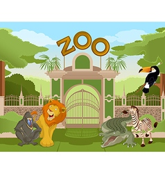Zoo gate with african animals 2 vector