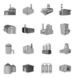 Factory plant icons set black monochrome style vector