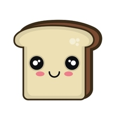 Kawaii cartoon bread slice vector