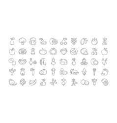 Vegetables and fruit line icons 6 2 vector