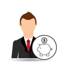 cartoon business man piggy save money vector image