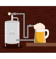 Brewery beer production factory and beer glass vector