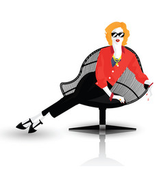 the fashionable girl instyle pop art vector image