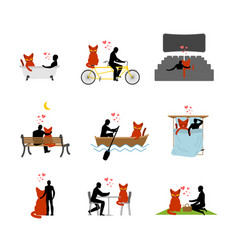 Cat lover set man and pet in movie theater lovers vector