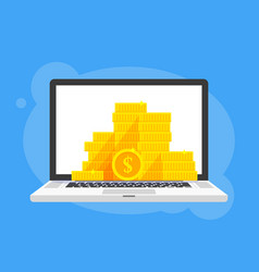 Gold coins stack dollar symbol in laptop notebook vector