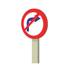 No right turn traffic road sign vector