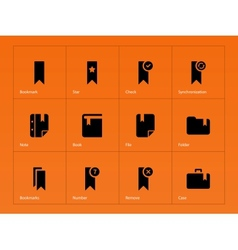 Bookmark favorite icons on orange background vector