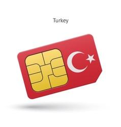 Turkey mobile phone sim card with flag vector