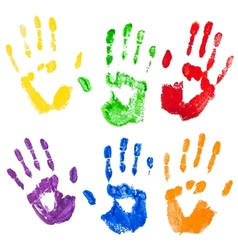 Isolated multicolored paint hand prints vector
