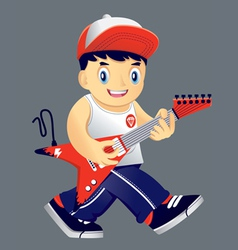 Boy guitarist vector