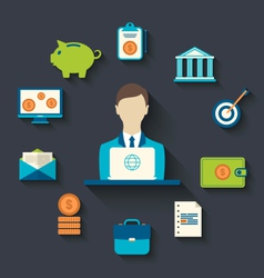 Financial and business icons flat design vector