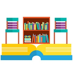 Colorful chairs and bookcase on huge book vector