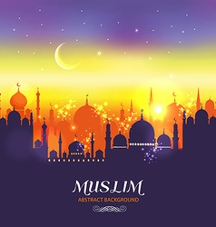 Muslim abstract greeting card islamic at su vector