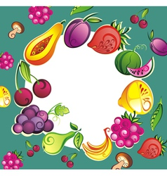 Mixed fruits collection vector