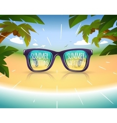 Sunglasses on summer sea coast with palms vector