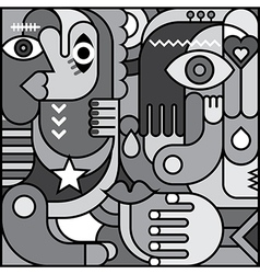 Abstract art greyscale vector