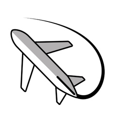 Airplane travel business vacation line shadow vector