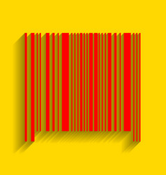 Bar code sign red icon with soft shadow vector