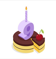 Birthday 9 years Cake and Candle isometrics Number vector image vector image
